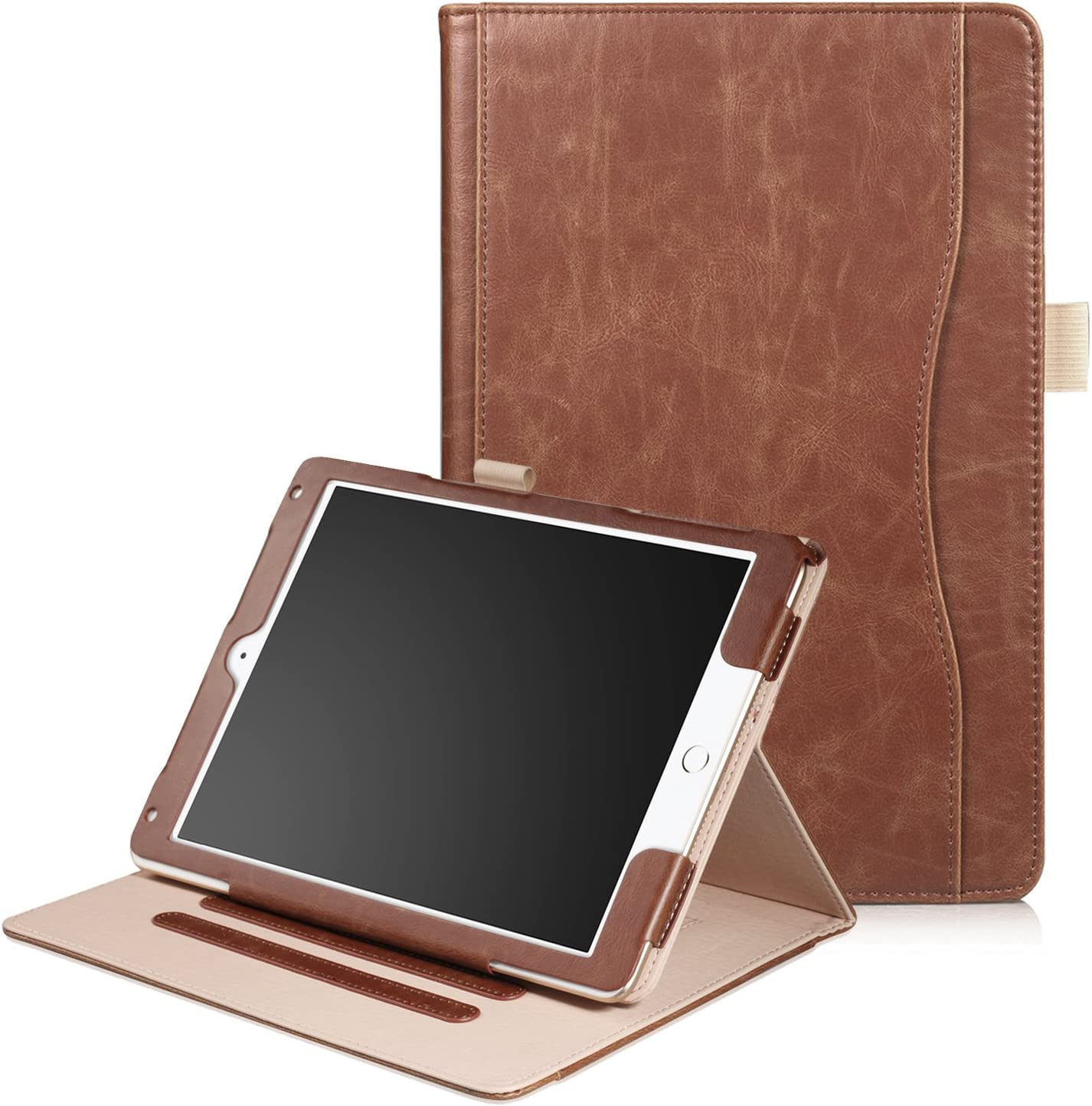 XBE Apple New iPad 9.7 inch 2018/2017 / iPad Air / Air2 Case - Multifunctional Cover for Apple New iPad 9.7 inch 2018/2017 iPad Air/Air2, with Multiple Viewing Angles (Brown)