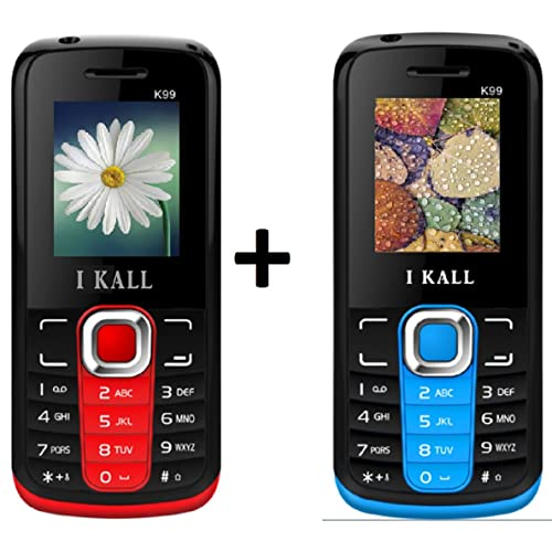 IKALL K99 Dual Sim Mobile Phone (Red and Blue) - Combo of 2