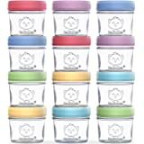 12-Pack Baby Food Glass Containers - 4 oz Leak-Proof, Microwavable, Baby Food Storage Container - Baby Food Storage Container