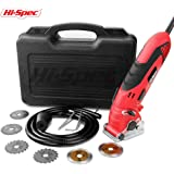 Hi-Spec 3.6A Power Circular Mini Saw with Depth Guide, Blade Guard, Dust Tube & 6 piece Blades for Straight/Plunge Cuts in Tile, Hardwood, Plywood, Flooring, Drywall, PVC, Metal, Steel and Carpet