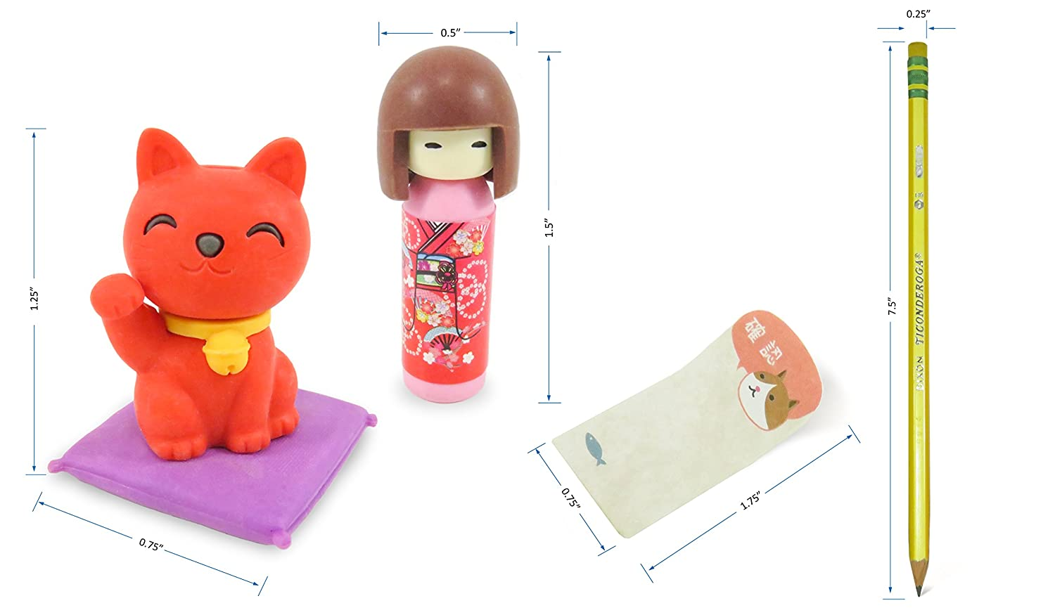 Cat and Doll Japanese Mini Puzzle Erasers 7 with Cat Page Markers Stickers 90 and Colorful Striped #2 Sharpened Pencils - Perfect 11 Piece Set for Kids Mixed 3