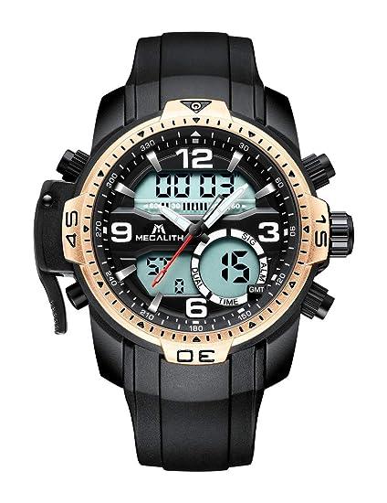 Relojes Hombre Reloj Militar Deportivos Digital Impermeable LED Cronometro Calendario Fecha Electrónico Reloj Grandes de Pulsera de Analógico Cuarzo Casual: ...