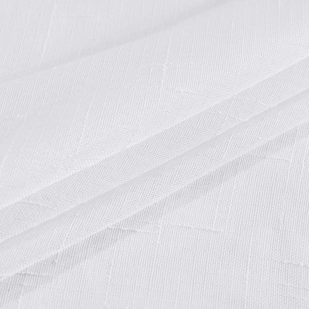 Blanc L X H MIULEE 2 Panneaux Couleur Pure Rideaux Imitation du Lin Transmittance Rideau De Fen/être Transparents Lisse /Él/égant Panneaux Voile De Fen/être Rideaux Traitement Pour Chambre Salon 140x225cm