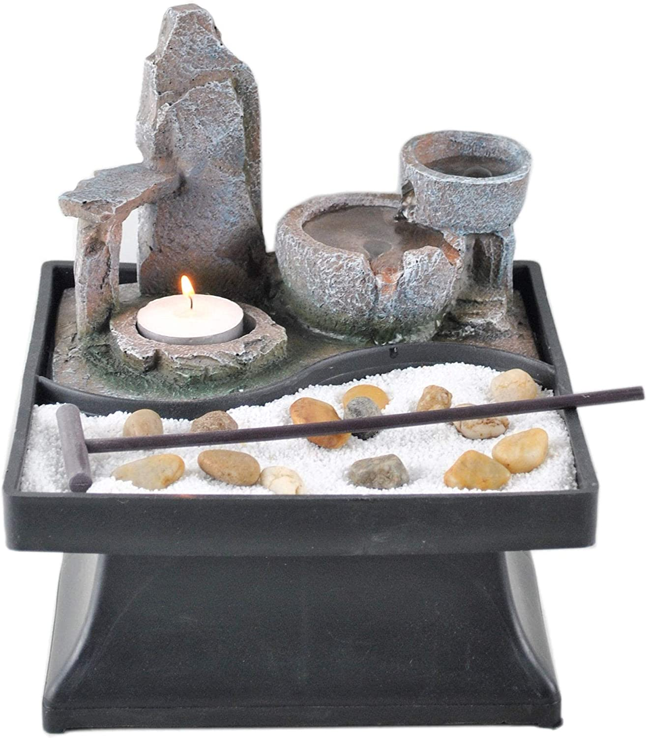 Germanda Indoor Relaxation Tabletop Zen Garden Decor With Water Fountain Tealight Candle Holder and Accessories Automatic Pump with Power Switch with Calming Natural Water Sound for Home or Office