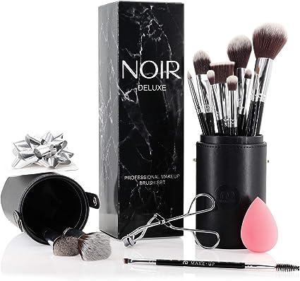 Noir Deluxe - Juego De Brochas y Pinceles de Maquillaje Profesionales con Esponja, Rizador de Pestañas y Estuche en Una Caja de Regalo (Plata): Amazon.es: Belleza