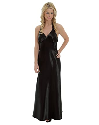 Amazon.com: Beautiful Black Satin Charmeuse Nightgown Halter Gown ...