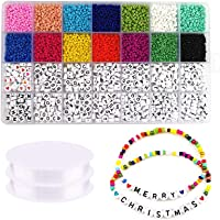 SAPU 5000pcs 3mm Beads and 2600pcs Alphabet Letter Beads for Name Bracelets Jewelry Making and Crafts, with 2*33 Feet…