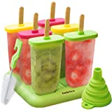 Lebice BPA-Free Popsicle Molds Set - 6 Ice Pop Makers with Silicone Lids + 5 Gifts