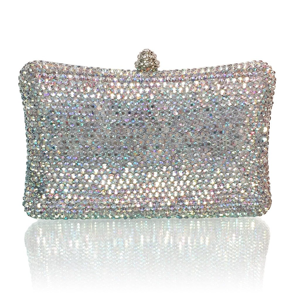 Marc Defang New York AB Crystal Handmade Bling Sparkle Large Rectangle Clutch (iPhone 8PLUS Friendly)
