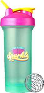BlenderBottle Motivational Quote Classic V2 Shaker Bottle, 28oz, I Don't Sweat I Sparkle