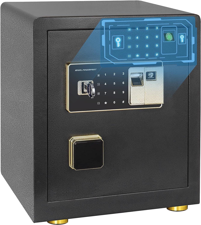 Safe Box, Fingerprint Money Safe 1.7 Cubic Home Personal Safe with Intelligent Alarm System, Digital Security Safe Box for Money Jewelry/Gun/Cash/Documents (1.7 Cub Black)
