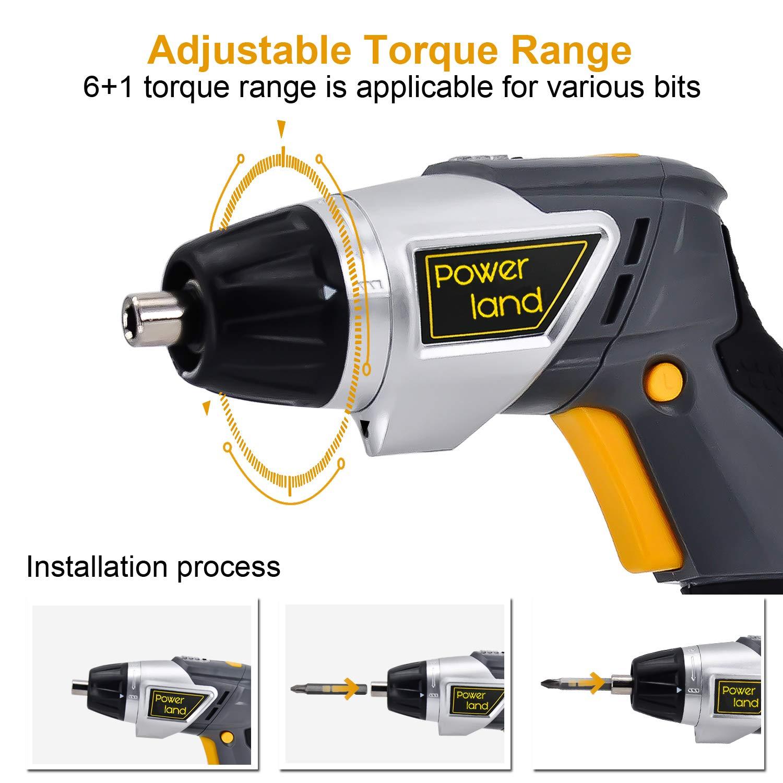 Powerland Visseuse sans fil (3.6 Li, 1 300 mAh, Régime : 200 trs/min, Porte-outils magnétique Couple : 3 Nm Eclairage LED )