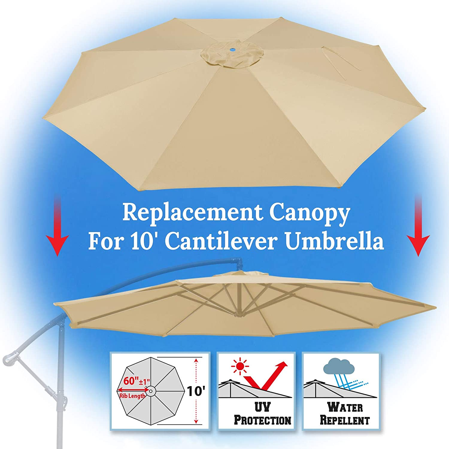 BenefitUSA 10ft Replacement Umbrella Canopy Outdoor Patio Umbrella Canopy 8 Ribs Canopy Only Beige