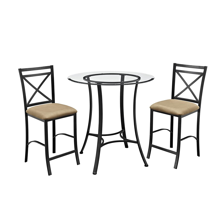 amazoncom  dorel living valerie  piece counter height glass and  - amazoncom  dorel living valerie  piece counter height glass and metal diningset  table  chair sets