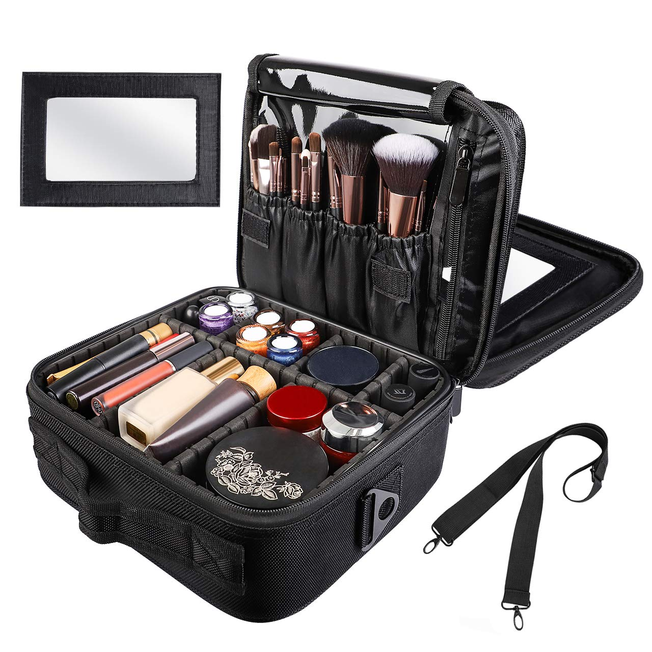 Kootek Travel Makeup Bag Double-Layer Portable Train Cosmetic Case Organizer with Mirror Shoulder Strap Adjustable Dividers for Cosmetics Makeup Brushes Toiletry Jewelry Digital Accessories by Kootek