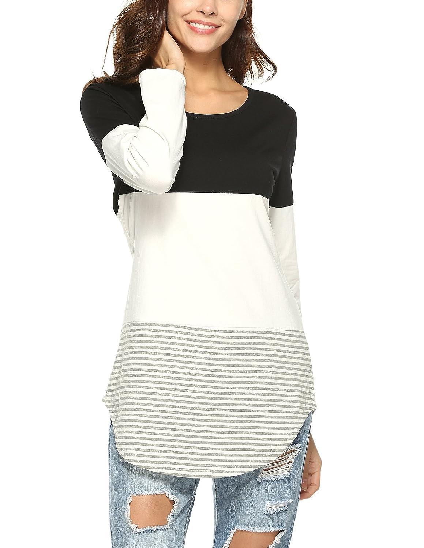 Lylafairy Casual Maglietta Donna Primavera Autunno Camicia Maglia Maniche Lunghe T Shirt IT-Strisce t shirt