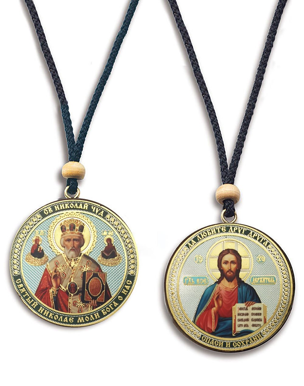 Religious Gifts 2 Sided Russian Orthodox Car Room Icon Pendant Saint St Nicholas with Christ The Teacher 2 Inch