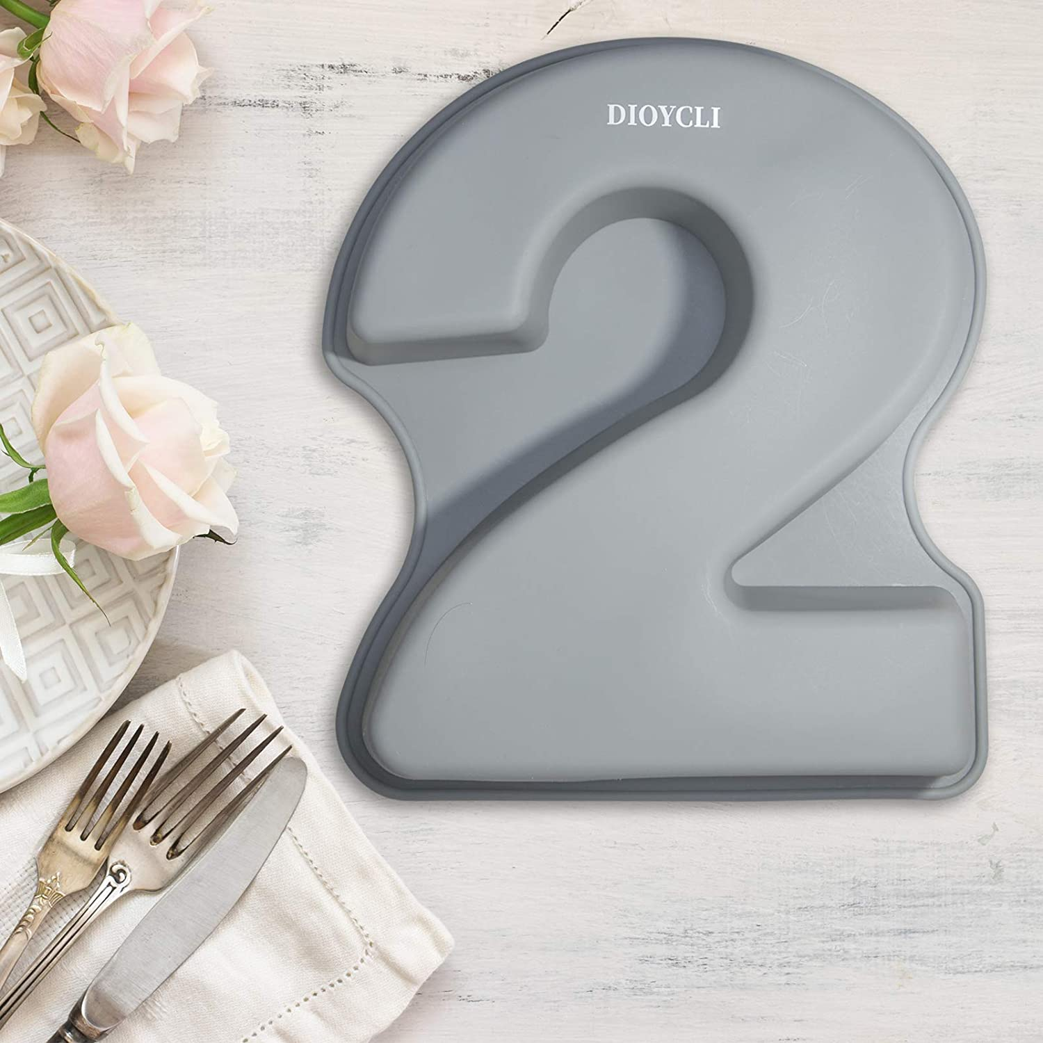 Silicone Cake Pans Large Number Cake Molds 3D Novelty Cake Moulds DIY Baking Mold for Birthday Wedding Anniversary Number of 2
