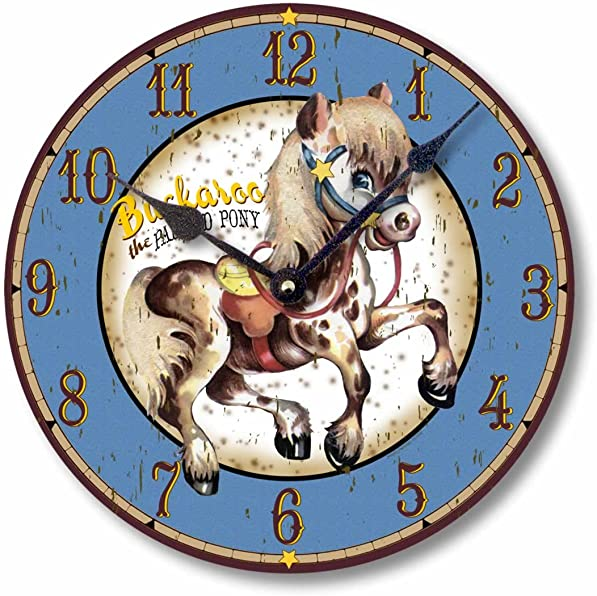 Fairy Freckles Studios Item C9004 Vintage Style 10.5 Inch Painted Pony Western Clock