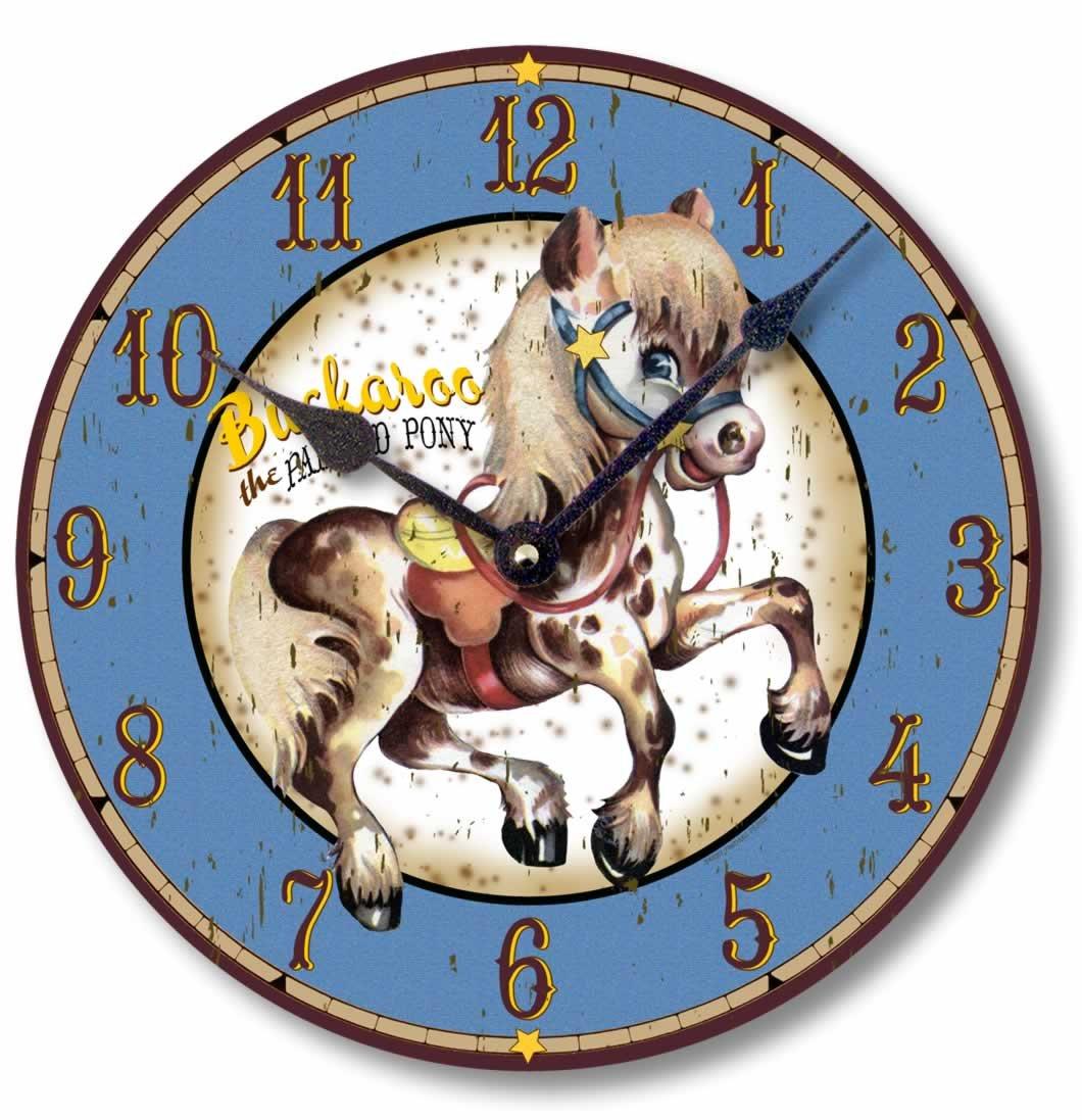 Vintage Painted Pony Western Clock