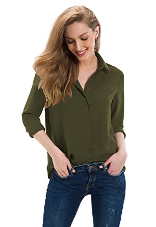 5075b0291 Tsher Women's Long Sleeve Shirt Loose Casual Button Professional Blouse  5005 (Army Green, ...