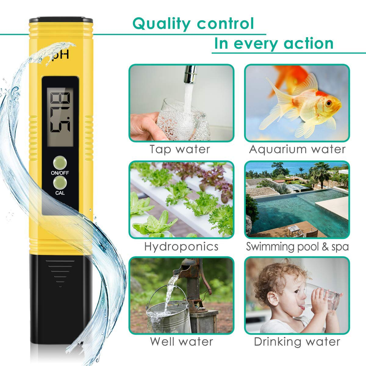 Vminno Digital PH Meter, PH Meter 0.01 PH High Accuracy Water Quality Tester with 0-14 PH Measurement Range for Household Drinking, Pool and Aquarium Water PH Tester Design with ATC by Vminno (Image #3)