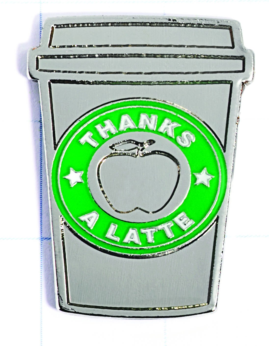 Thanks A Latte Travel Mug-Shaped Appreciation Award Lapel Pin, 6 Pins