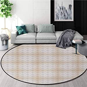 DESPKON-HOME Beige and Brown Round Area Rug,Classical Rococo Pattern with Abstract and Artistic Scroll Motifs Design Non-Slip Fabric Round Rugs for Floor Mat Carpet Diameter-51 Inch,Beige and Brown