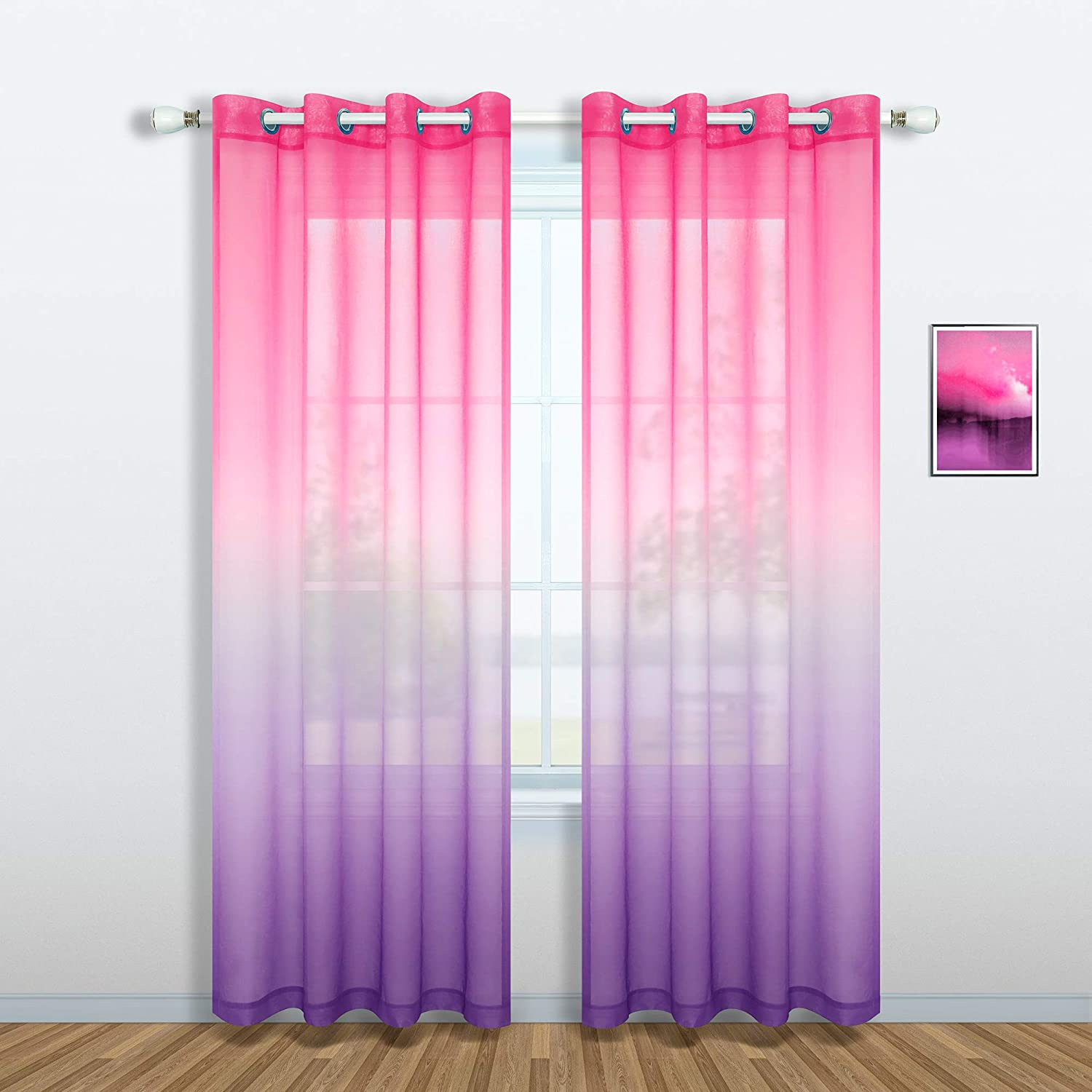 Pink and Purple Curtains for Girls Bedroom Decor Set 1 Single Panel Grommet Window Voile Pastel Sheer Ombre Rainbow Curtain for Kid Room Decoration Teen Princess 63 Inch Length Gradient Lilac Lavender