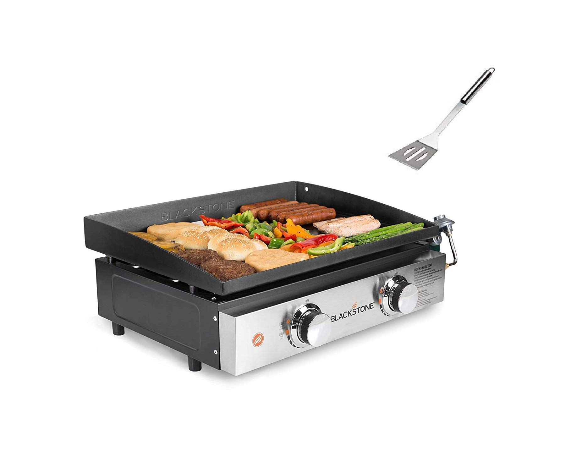 Blackstone Tabletop Grill, 22 Inch, Propane Fueled,2 Adjustable Burners, Rear Grease Trap, Black with Barbecue Set