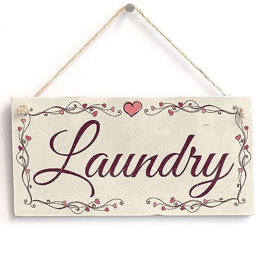 Mr.sign Laundry Cartel de Pared Madera Placa Madera Palet ...