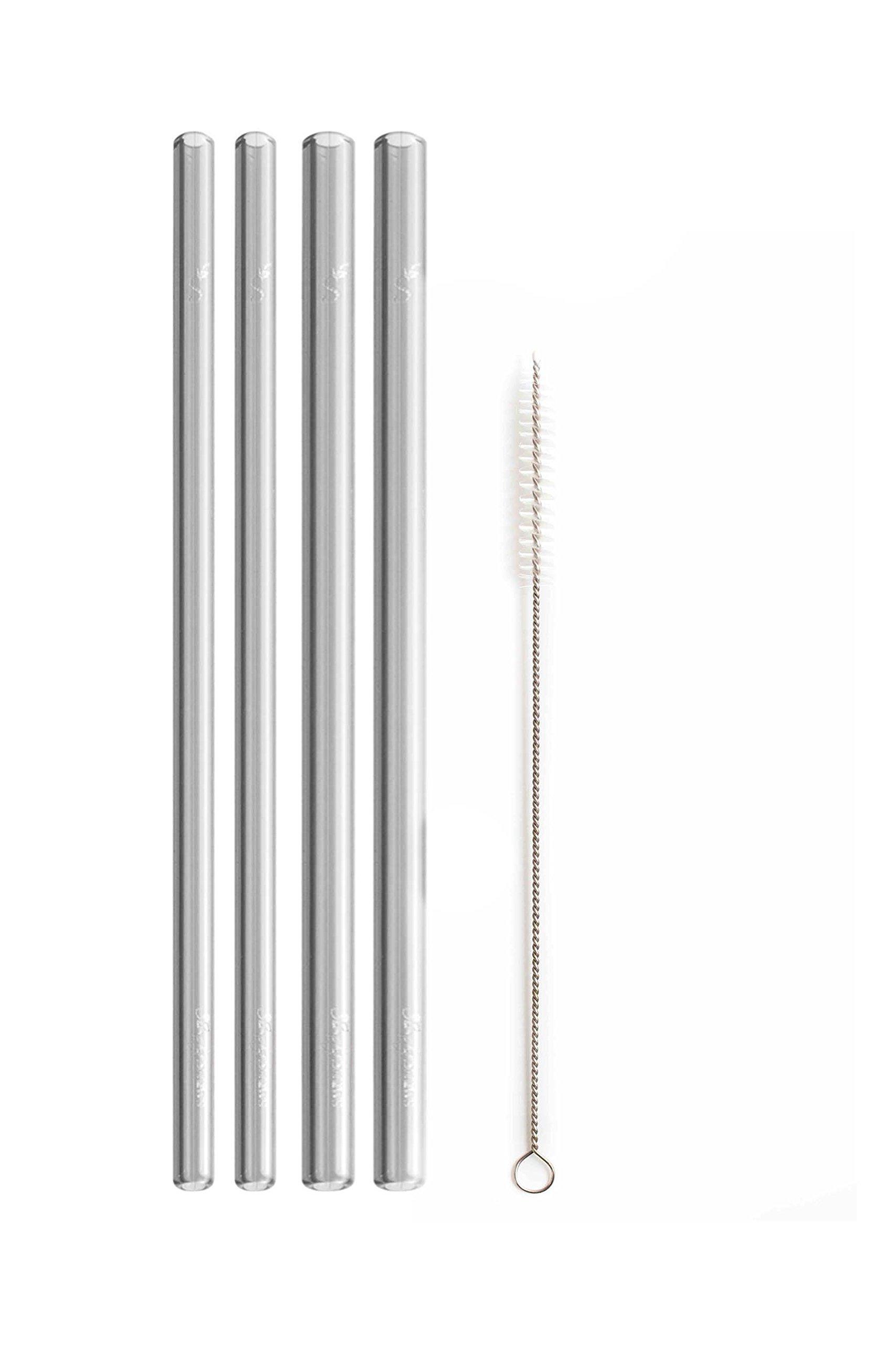 Simply Straws Straight 2 Classic & 2 Wide 8''+ Brush (Smoke)