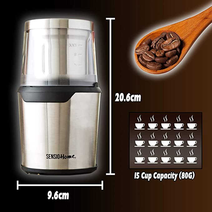 Amazon.com: Sensio Home Coffee Grinder | Electric Coffee Bean, Herb & Spice Grinder Machine | Two Detachable 2 8 Ounce Capacity Cups for Wet and Dry Food ...