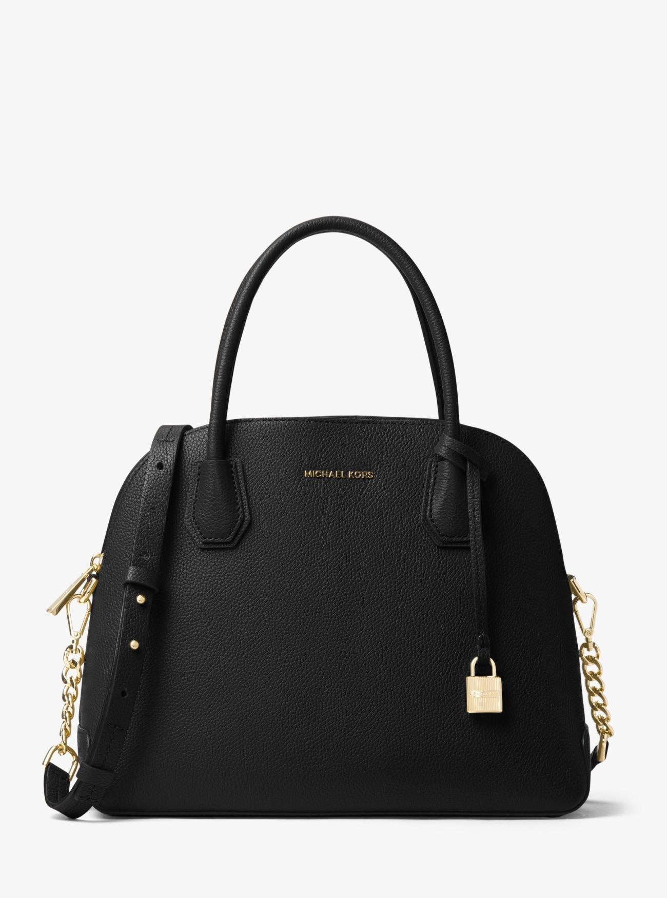Michael Kors Mercer Large Dome Leather Satchel Bag (Black)