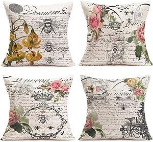 "Hopyeer 4Set European Romantic Retro Style Garden Queen Bee Decor Throw Pillow Covers Vintage Postcard Quote Lettering Flower Roses Cotton Linen Pillowcase Home Sofa Cushion Cover 18""x18"" (ER-Bee)"