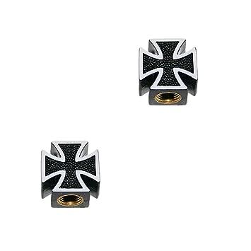 KUSTOM66 2er Set Ventilkappen und 2 Fahrrad Adapter Eight Ball in schwarz f/ür jedes Fahrrad geeignet