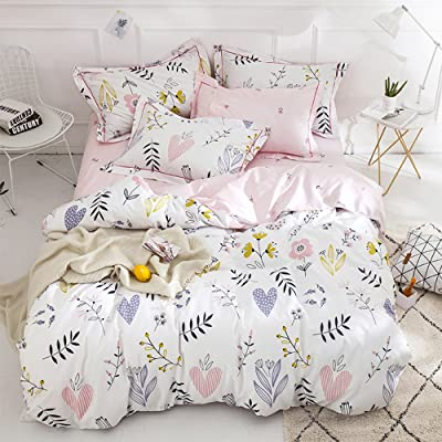 BuLuTu Floral Love Print Girls Duvet Cover Full White/Pink Cotton Premium Blossom Kawaii Reversible Colorful Kids Bedroom Comforter Cover Queen Bedding Sets for Teen,Lightweight,Zipper,NO Comforter: Home & Kitchen