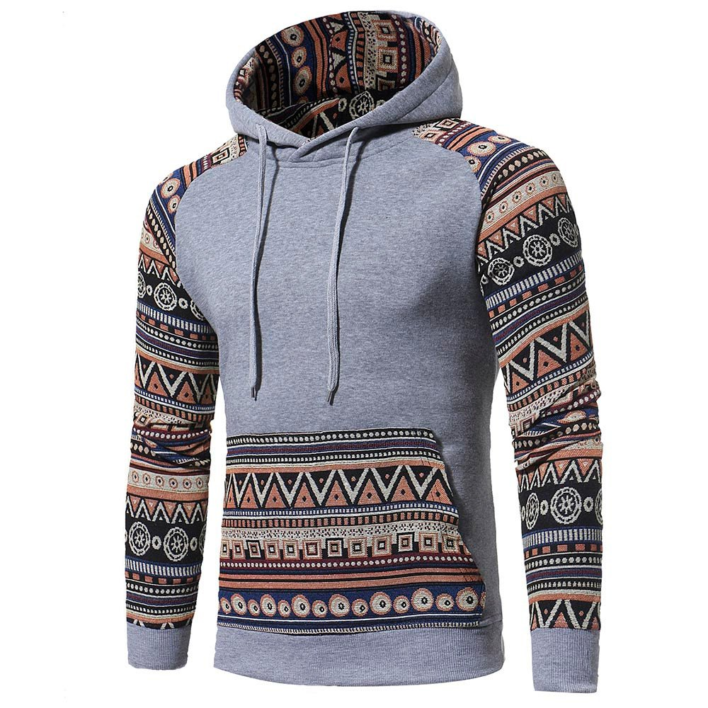 Men Retro Long Sleeve Hoodie Hooded Sweatshirt Tops Jacket Coat Outwear Fashion