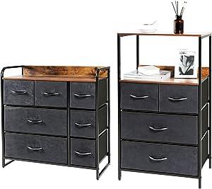 Kamiler 7 Drawer Dresser and 4 Drawer Dresser with Shelves Set. Storage Organizer, Tower Unit for Bedroom, Closet, Hallway, entryway