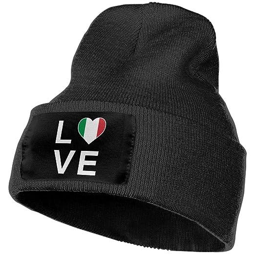 81393f1c42b100 Unisex Winter Hats I Love Italy - Italian Patriot Flag of Italy Skull Caps  Knit Hat