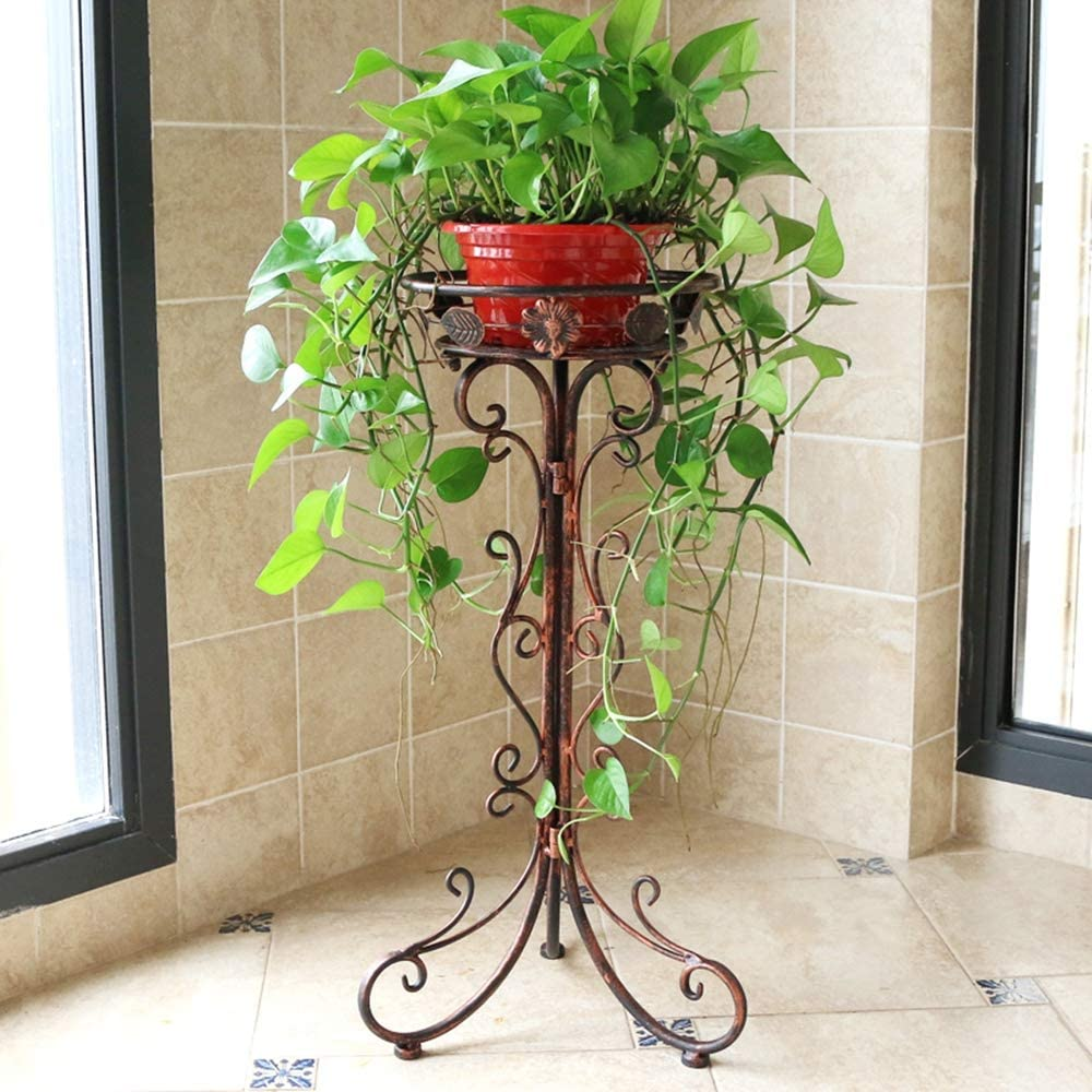 Metal Tall Plant Stand Indoor/Outdoor,Iron Flower Pot Holder Small Plant Holders,Flower Pot Stand Flower Pot Supporting,Potted Plant Stand Plant Rack Planter Stand,for Home,Garden,Patio(Bronze,29.5in)