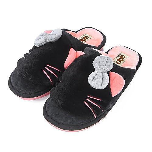 Zapatillas para Gatos con Lazo, de Felpa, Antideslizantes, Antideslizantes, para Interior y