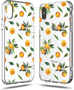Compatible iPhone X Case,Girls Women Orange Lemon Cute Funny Fruits Colorful Girls Hipster Aloha Summer Tropical Hawaii Sweet Orange Tangerines Leaves Daisy Vacation Soft Clear iPhone X/Xs Case