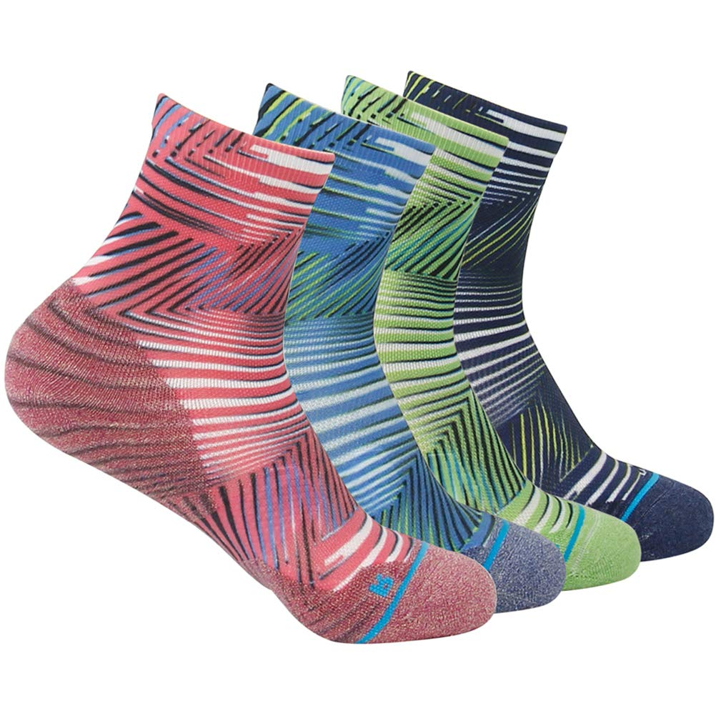HUSO Fashionable Printing Cushioned Anti Odor Running Mountain Bike Socks 4 Pairs for Men Women (Multicolor, L/XL) by HUSO