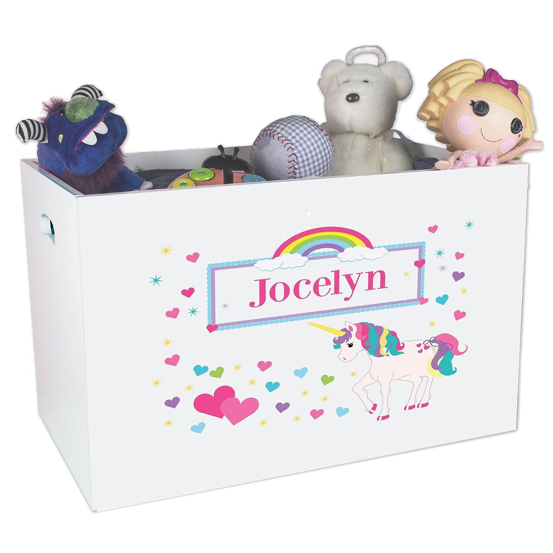 Personalized Unicorn Childrens Nursery White Open Toy Box