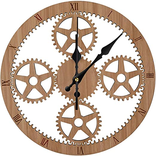 Round Wooden Quartz Wall Clock Rustic Vintage Style Wooden Home Art Decor Gift