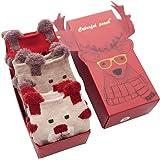 Jamron Mujer Chicas Encantador Calcetines de Navidad Regalo Establecer 3 Pares Novedad Navidad Calcetines de Algodón
