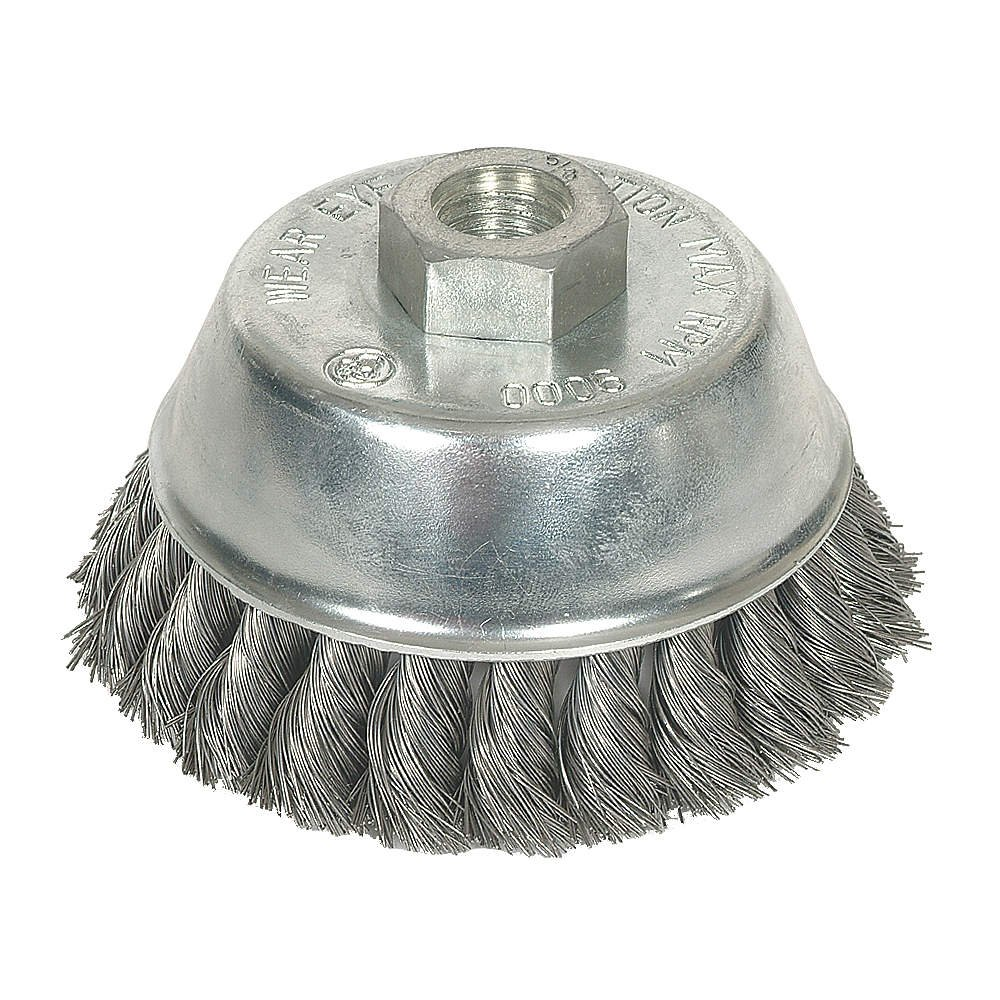 Westward 1GBK2 Knot Wire Cup Brush, 4 In Dia, 0.0230 Wire