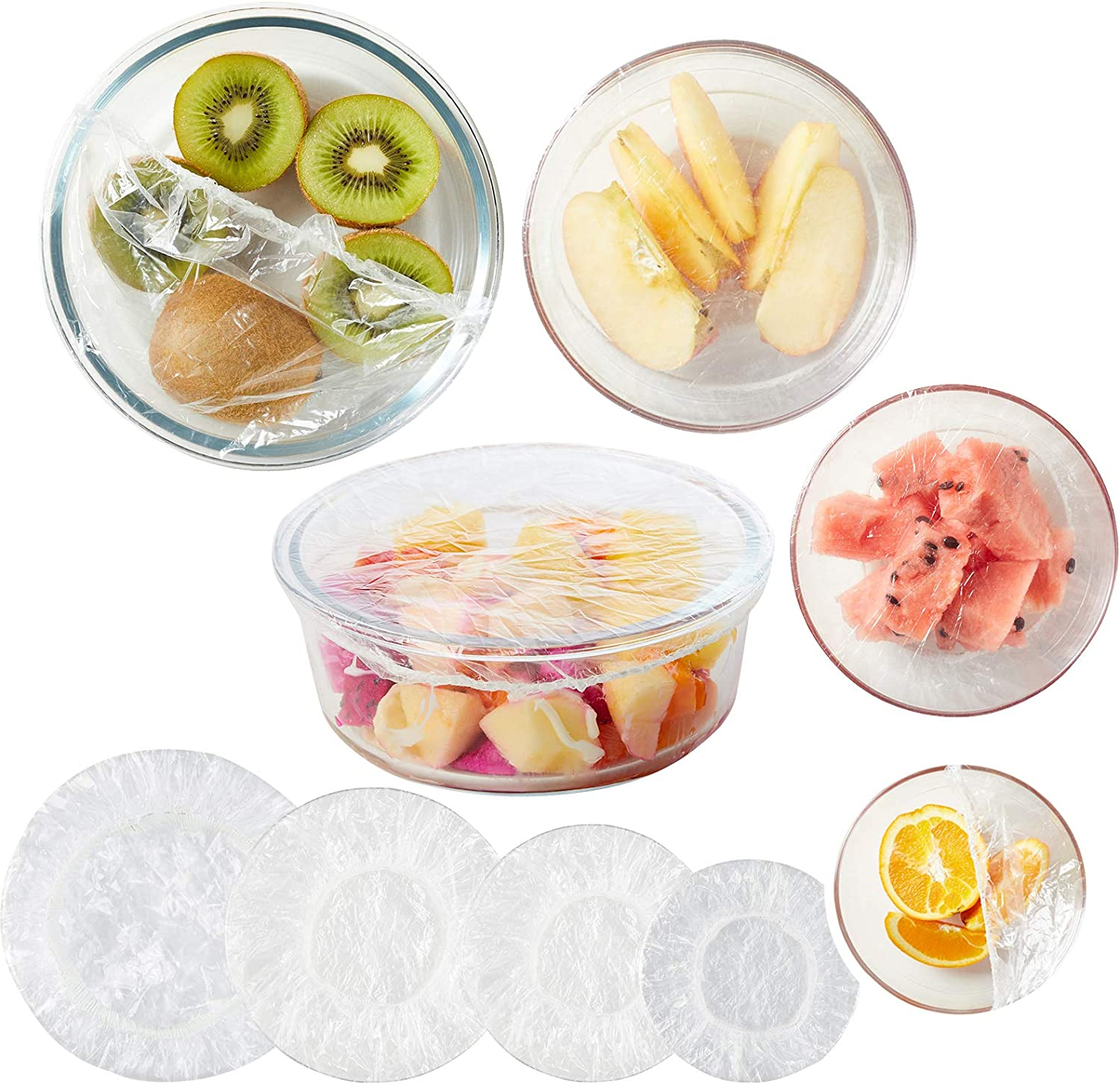 MEQINEL Reusable Bowl Covers with Elastic, 60 PCS Stretch Plastic Warp Food Plate Serving Cover for Leftovers Fruit Outdoor Picnic