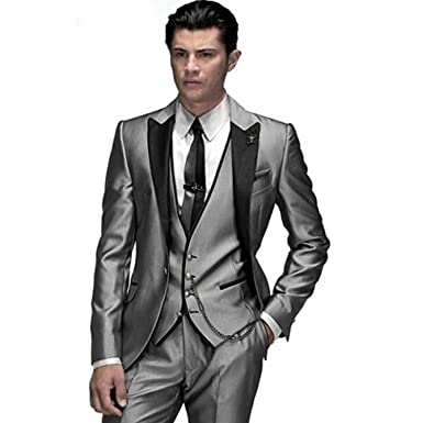5371faa9cbb MYS Men s Custom Made Groomsman Shining Tuxedo Suit Pants Vest Tie Set  Silver Size 38R